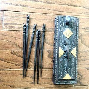 Hand carved chop sticks